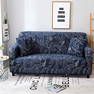 Jaoul All Cover Printing Elegant Floral High Stretch Couch Sofa Slipcover Furniture Protector with Two Pillow Cases, Navy Leaves, Sofa-4 Seater
