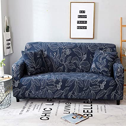 Jaoul All Cover Printing Elegant High Stretch Sofa Slipcover Furniture Protector for 3 seat Cushion Couch with Two Pillow Cases, Navy Leaves, Sofa-3 ...