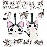 2 Pack Travel Luggage Tags Cute Suitcase Tags Lovely Cartoon Bag Tags with 14Pcs Cute Cat Stickers(Cats)