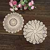 Elesa Miracle 7 Inch 4pc Handmade Round Crochet Cotton Lace Table Placemats Doilies Value Pack, Mix, Beige (4pc-7 Inch…