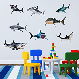 8 Pieces of Sharks Peel and Stick Wall Decals Sharks Removable Wall Stickers Animal Shark Sea Creature Decal Sticker for Room Bathroom Nursery Home Decoration