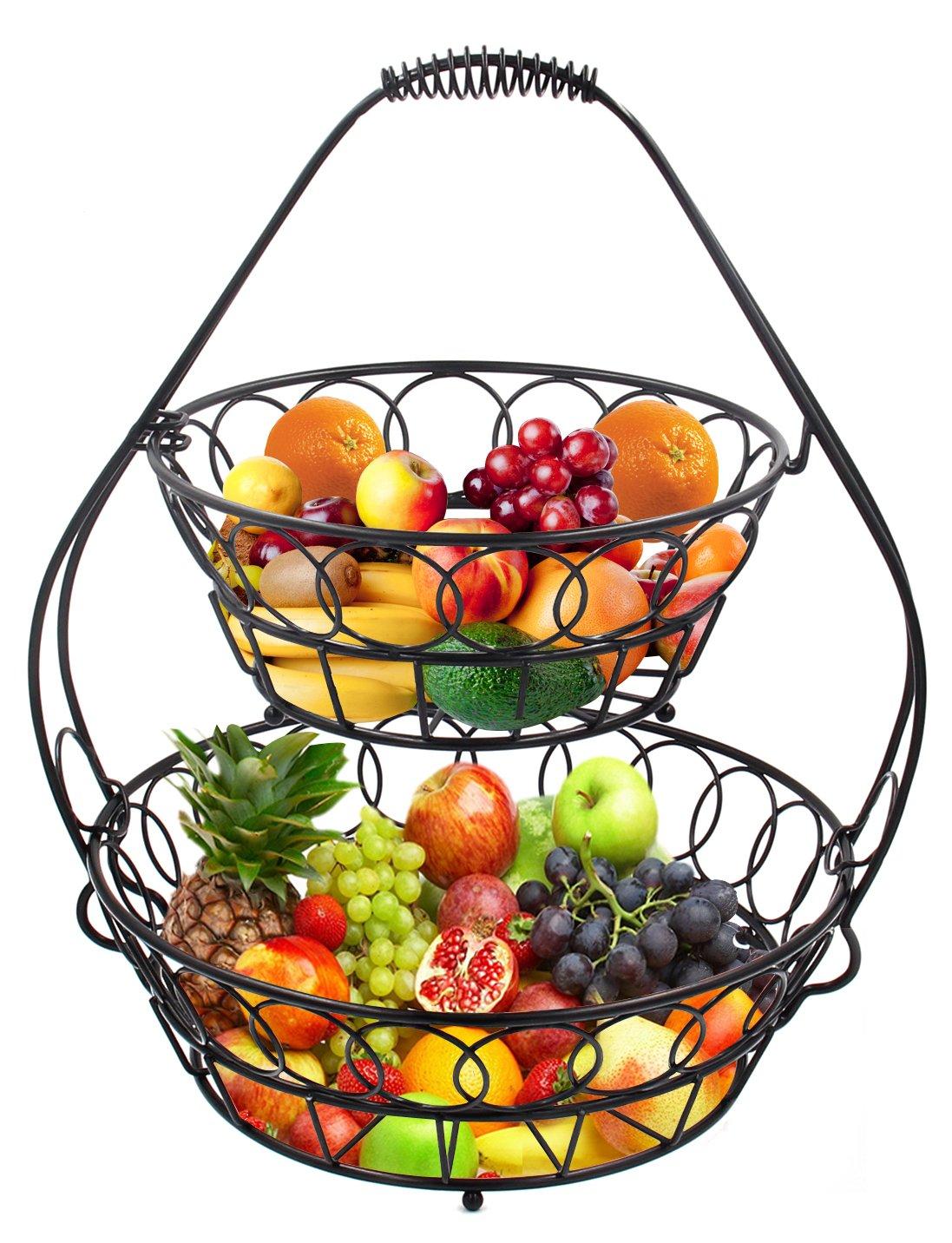 Esylife assembled 2 tier fruit bowl stand big fruit bread vegetable basket ebay - Tiered fruit bowl ...