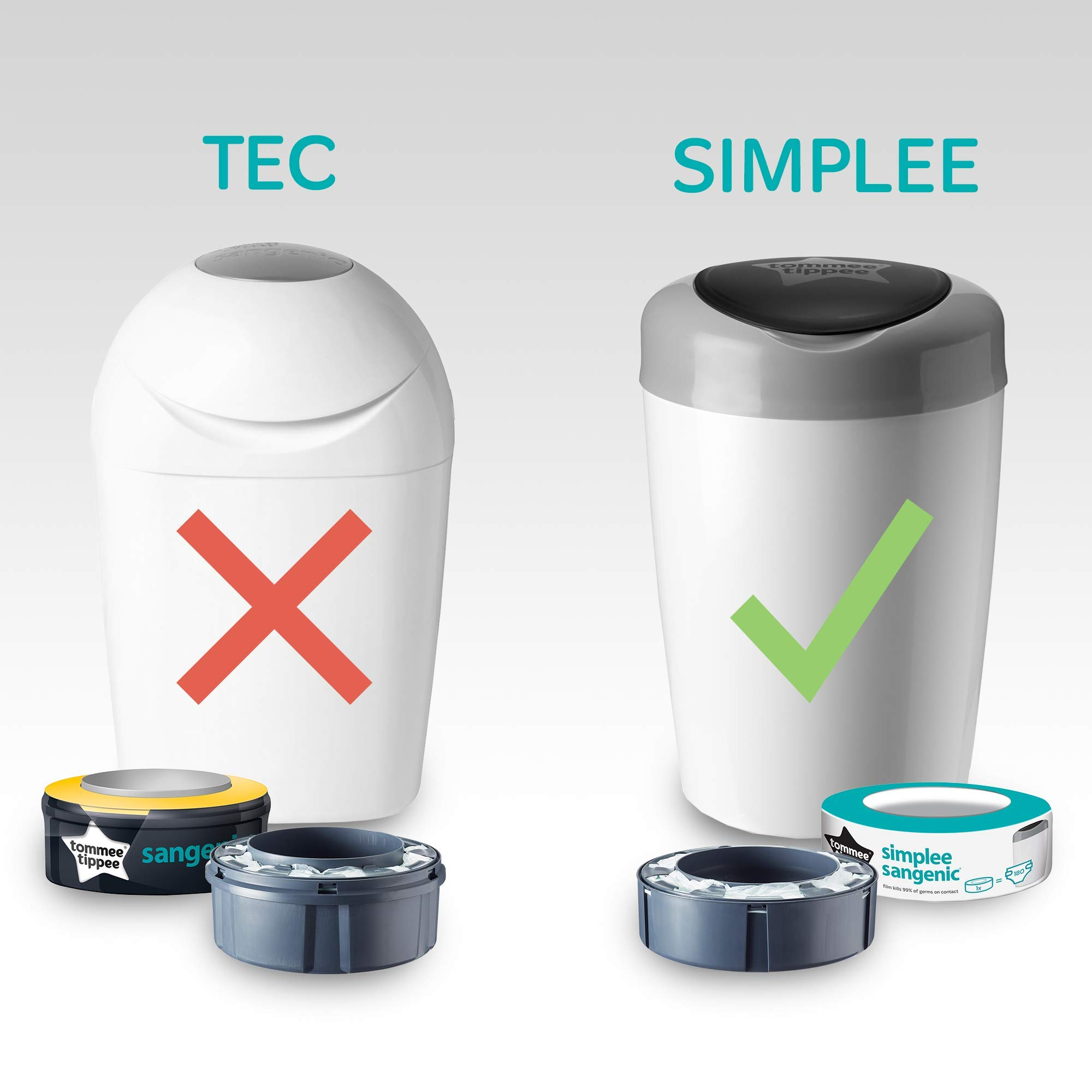 Tommee Tippee Simplee Sangenic Refills compatible with Simplee Sangenic bin only Pack of 6