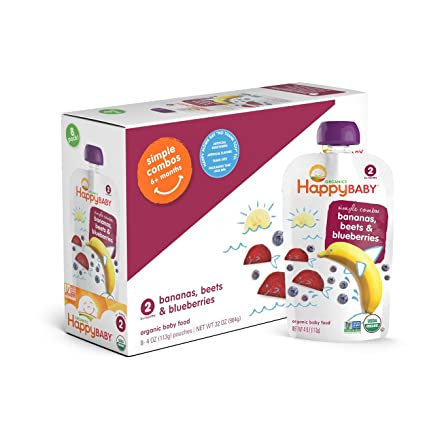 Happy Baby Organic Stage 2 Baby Food Simple Combos Bananas Beets & Blueberries, 4 Ounce Pouch (Pack of 16) Resealable Baby Food Pouches, Fruit & ...