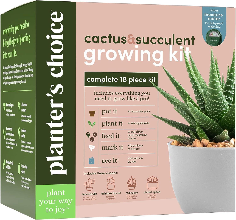 Cactus & Succulent Growing Kit w/Moisture Meter - Grow 4 Plants - Complete Kit - Unique Gardening Gifts for Women & Men Gardeners : Unusual Gift Ideas - Adults Gardener Gifts : Plants Starter Kits