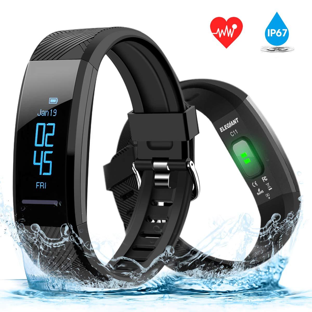 ELEGIANT Montre Connectée, Bracelet Connectée Fitness Tracker dActivité Etanche IP67 Moniteur de Fréquence Cardiaque Cardiofréquencemètre Cardio Sport ...