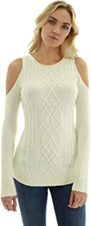 PattyBoutik Women Cold Shoulder Cable Knit Jumper