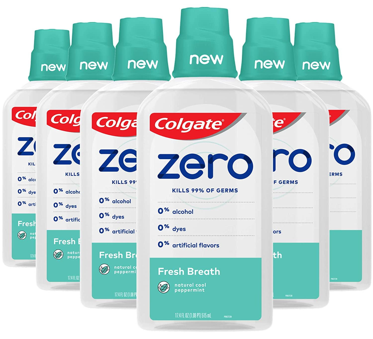 Colgate Zero for Fresh Breath Alcohol Free Mouthwash, Natural Cool Peppermint - 515 mL, 17.4 fluid ounce (6 Pack)