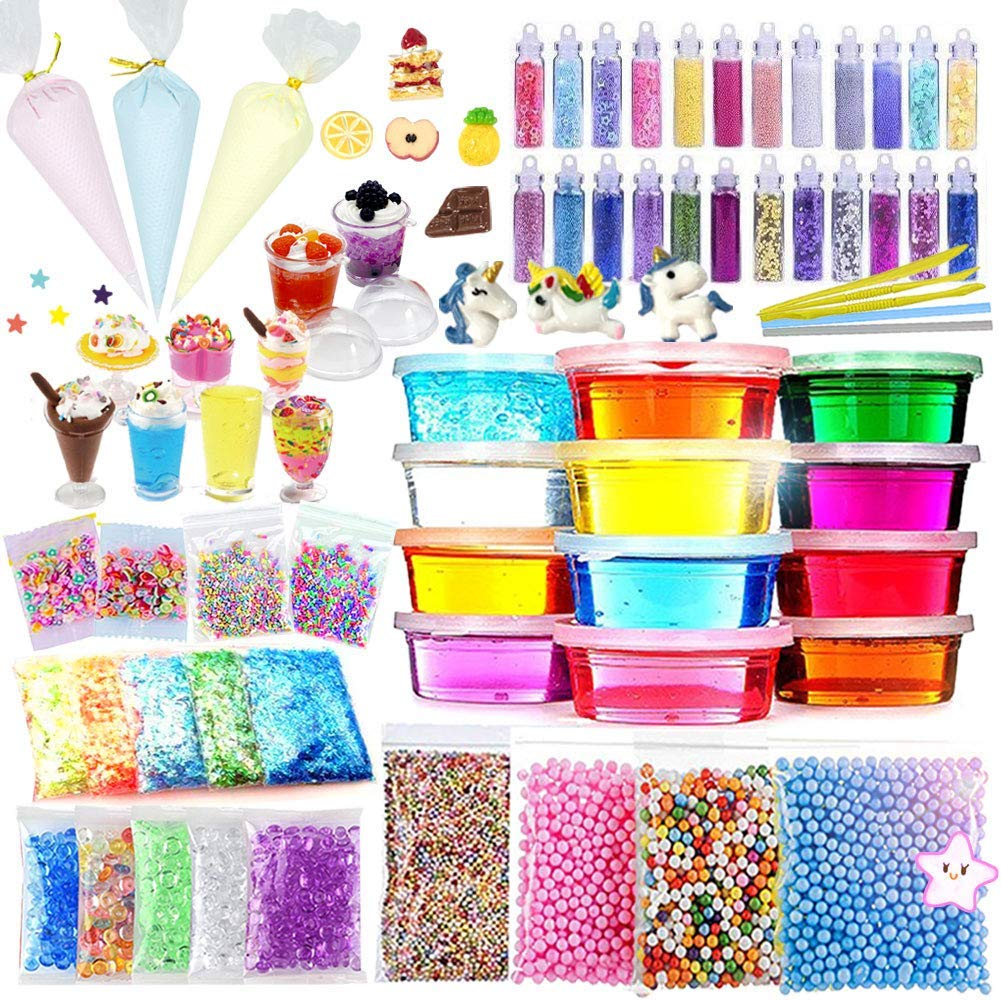 ESSENSON DIY Slime Kit for Girls Boys - Slime Supplies Make Your Own Slime, Includes Crystal Slime, Glitter Sheet Jars, Unicorn Slime Charms, Candy Toy Cups, Foam Balls, Fruit Slices, Fishbowl Beads