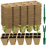 200 Cells Seed Starter Tray, ZOUTOG Organic Peat Pots for Seedlings -10 Cells Per Seed Tray, Seedling Starter Tray with Holes