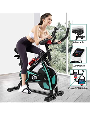 Fitnessclub Indoor Exercise Bike Cycling Spin Bike Cardio Workout W/Belt Driven Flywheel Cycling Adjustable Handlebars Seat Resistance Digital Monitor Heart Rate Sensors Phone Holder Bottle Green