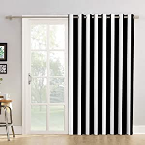 "Futuregrace Blackout Curtains Black and White Stripe Pattern Livingroom Bedroom Darkening Window Draperies & Curtains for Sliding Glass Door Home Office Decor 52"" W by 72"" L"
