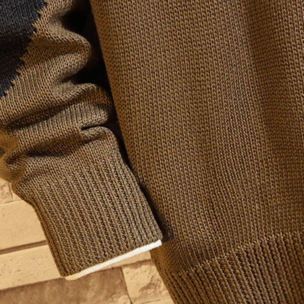 iOPQO Mens Pullover Knit Fashion Colorblock Graphic Long Sleeve Slim Fit Sweatshirt M-5XL