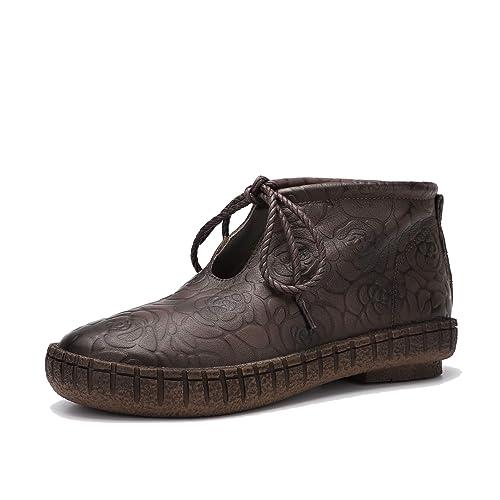 Botines de Cuero Vintage para Mujer Mocasines con Cordones en Relieve Zapatos de Plataforma Impermeables Redondos: Amazon.es: Zapatos y complementos