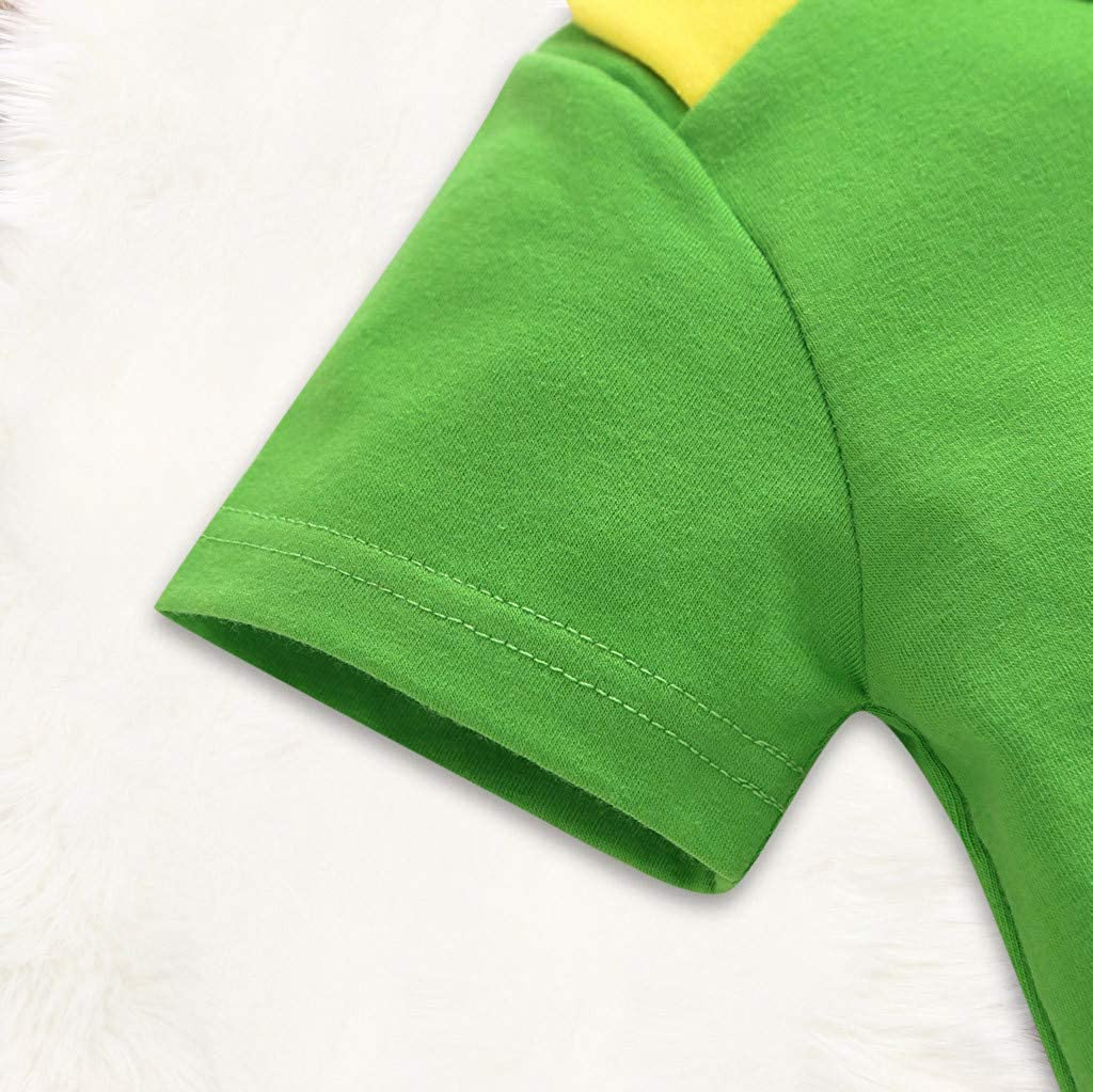 Mitlfuny Primavera Verano Ropa Monos para Beb/é Reci/én Nacido Manga Corta Mameluco Peleles Dibujos Animados Peque/ño Monstruo Estampado Tops Unisex Ni/ñas Ni/ños 3-24 Meses Verde