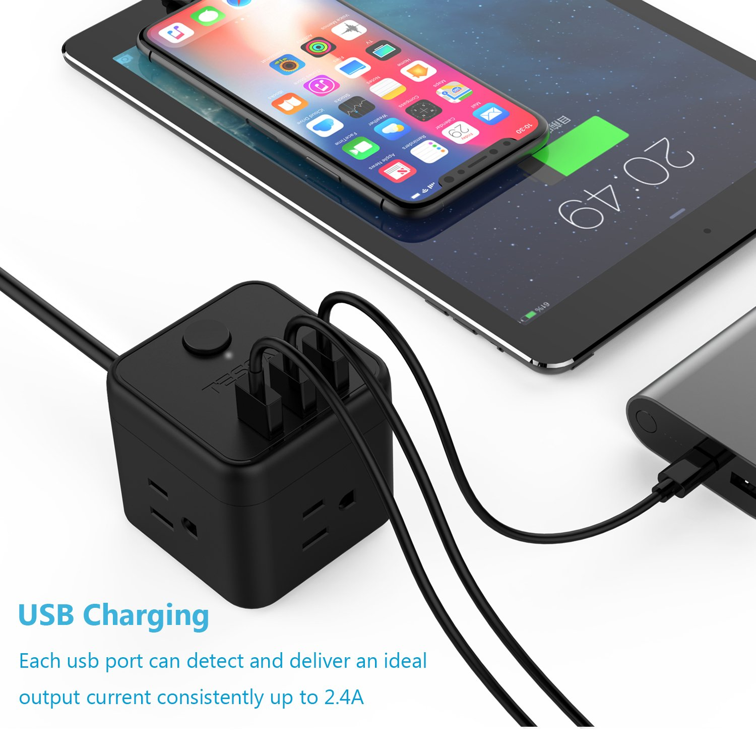 Portable Cube Power Strip with 3 USB Port & Switch Control, 3 Outlet Charging Station with 5 Ft Extension Cord for Nightstand & Desktop & Travel - Black by TESSAN (Image #8)