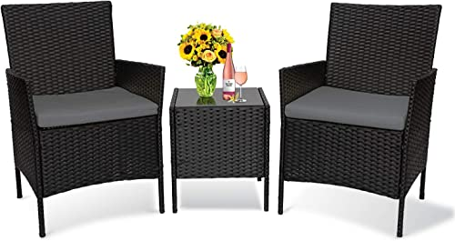 Patio Furniture Set 3 Piece Balcony Patio Set,Outdoor Rattan Conversation Set