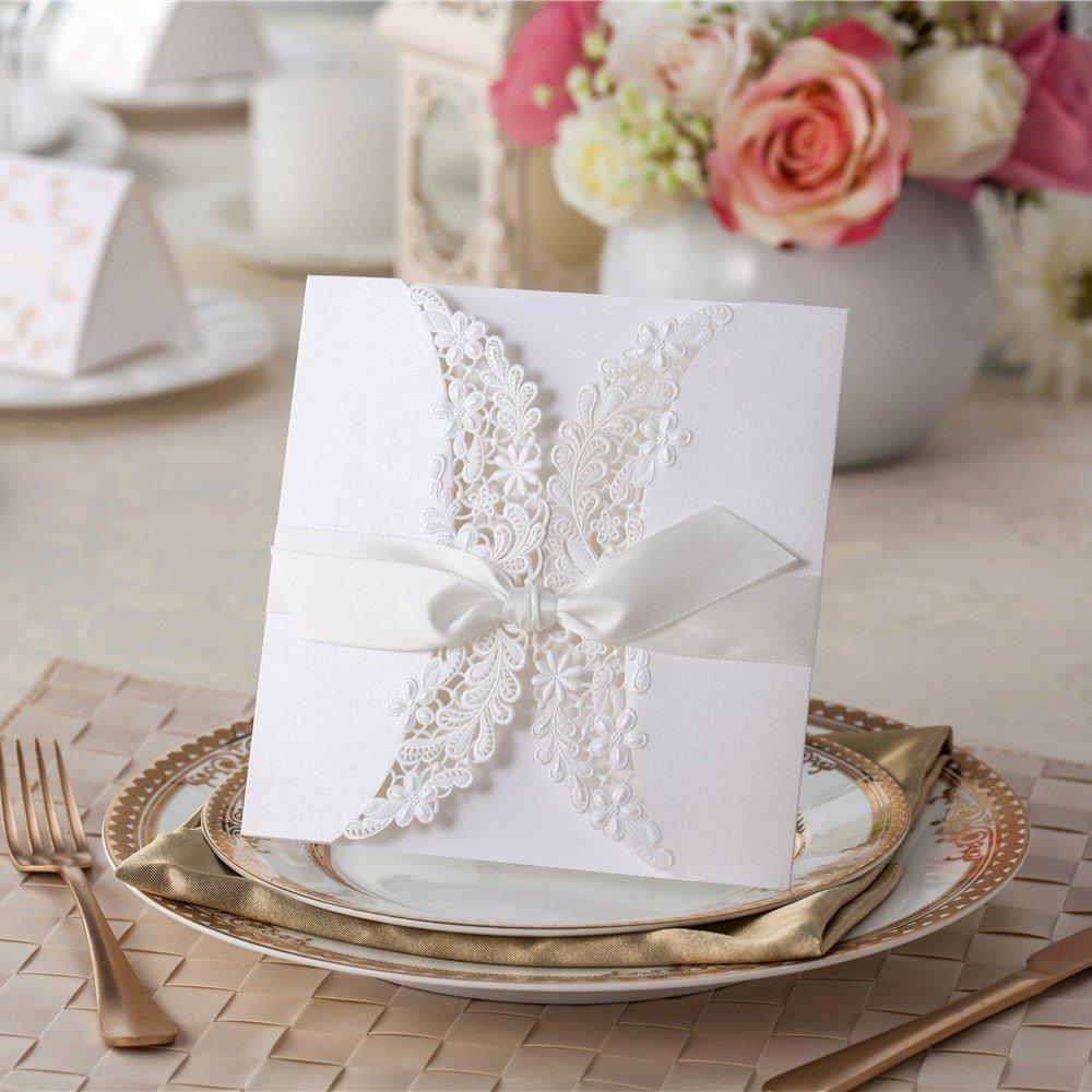 VStoy Laser Cut Flora & Encaje invitaciones de boda con lazos 20pcs