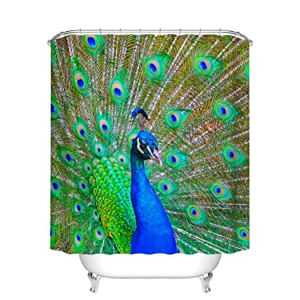 Fangkun Peacock Shower Curtain Decor