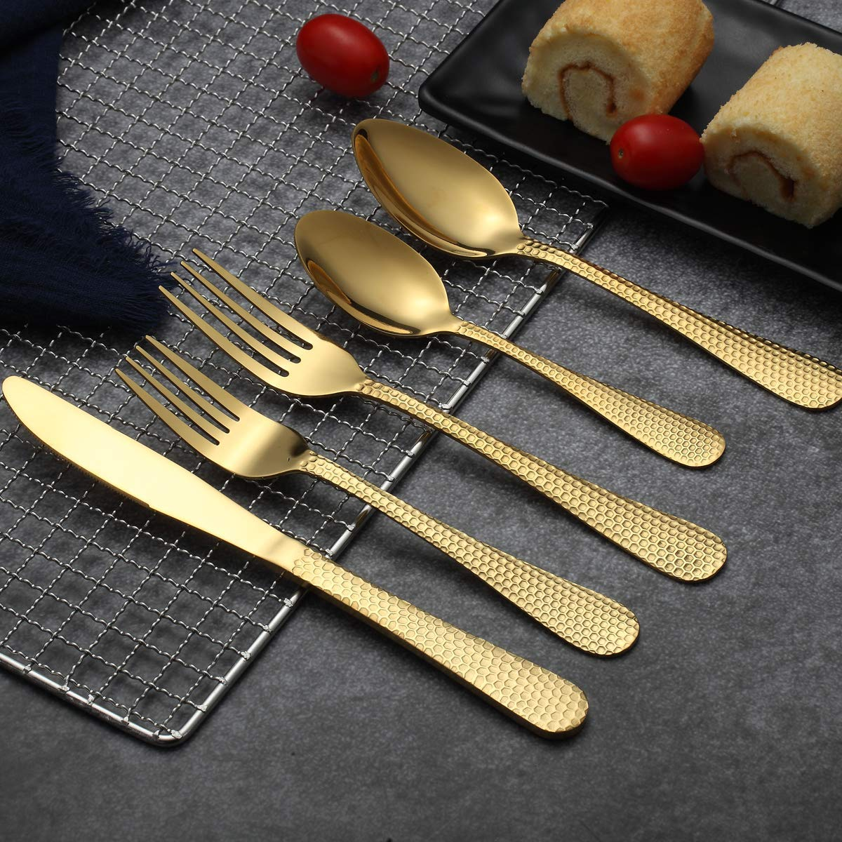 20 Pieces Service For 4 Shiny Rainbow Packing With A Classic Golden Metal Holder Kyraton Colorful Titianium Plated Stainless Steel Flatware Set 20 Pieces,Hammer Design Rainbow Color Silverware Set