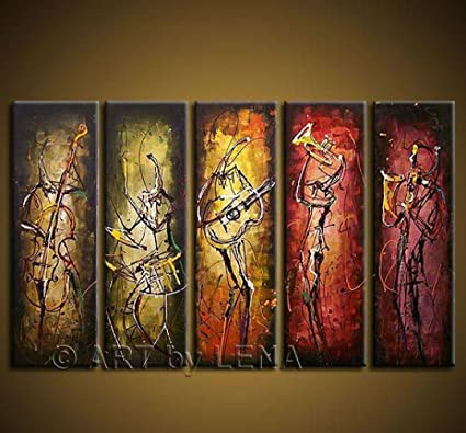 Amazon.com: Best Favor Hand-Painted Wall Art Abstract Music Oil ...