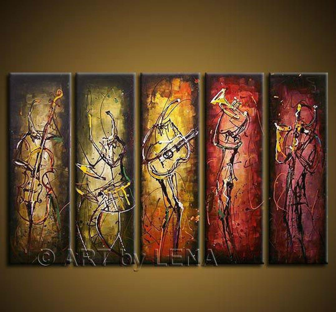 Best Favor Hand-Painted Wall Art Abstract Music Oil Painting On Canvas 5 Pcs Set Wood Framed F 985 by Bestfavor