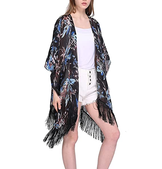 fda7abf86d130 Womens Floral Sheer Chiffon Open Front Beach Cover Up Bathing Suit Loose  Swim Kimono Cardigan (