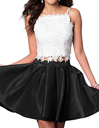 7877c30f25 Little Star Women s Short A Line Satin Prom Homecoming Dress Two Piece  Spaghetti Ball Gown Black