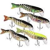 JIANYI 5 Pack Fishing Lures for Bass Trout Lifelike Multi Jointed Swimbaits Slow Sinking Swimming Hard Lure Freshwater Saltwa