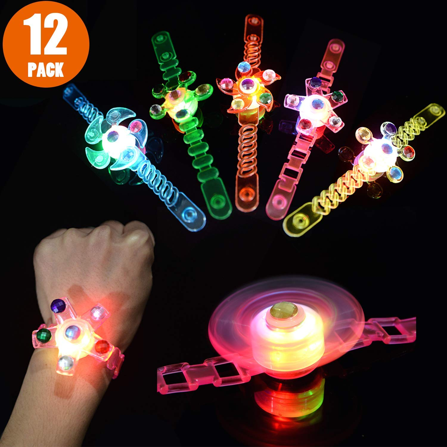 Mikulala Glow in The Dark Birthday Party Favors for Kids Prizes Box Toys for Classroom 12 Pack Light Up Toys Hand Spin Stress Relief Anxiety Toys Bulk Fidget Toys Boys Girls by Mikulala