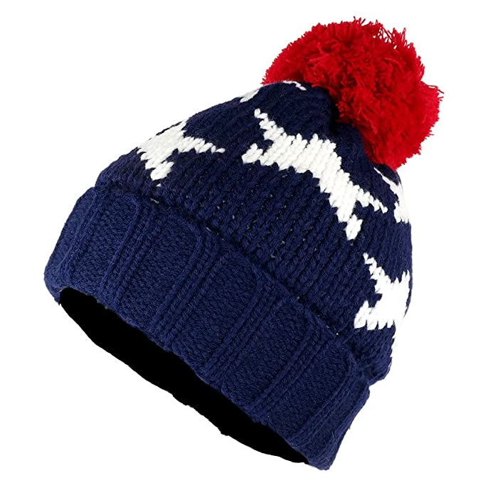 e997c33f50b8dc USA Stars Beanie Hat with Adorable Red Pom Pom - NAVY at Amazon ...