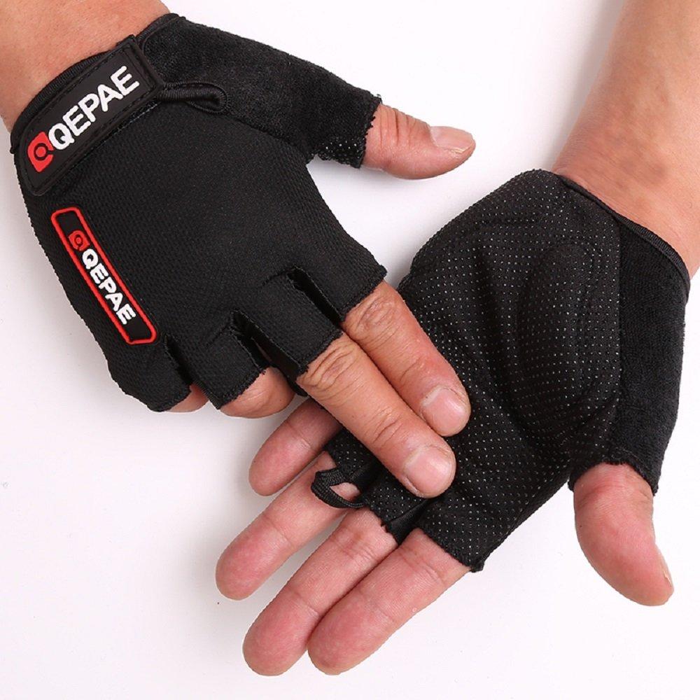 Tofernユニセックスハーフフィンガーサイクリング自転車グローブスポーツジム指なし手袋通気性滑り止めクイックドライ B0751C9N83 XL: Palm width 3.5~4
