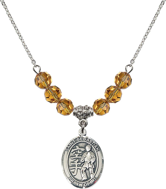 Bonyak Jewelry 18 Inch Rhodium Plated Necklace w// 6mm Yellow November Birth Month Stone Beads and Saint Sebastian//Karate Charm