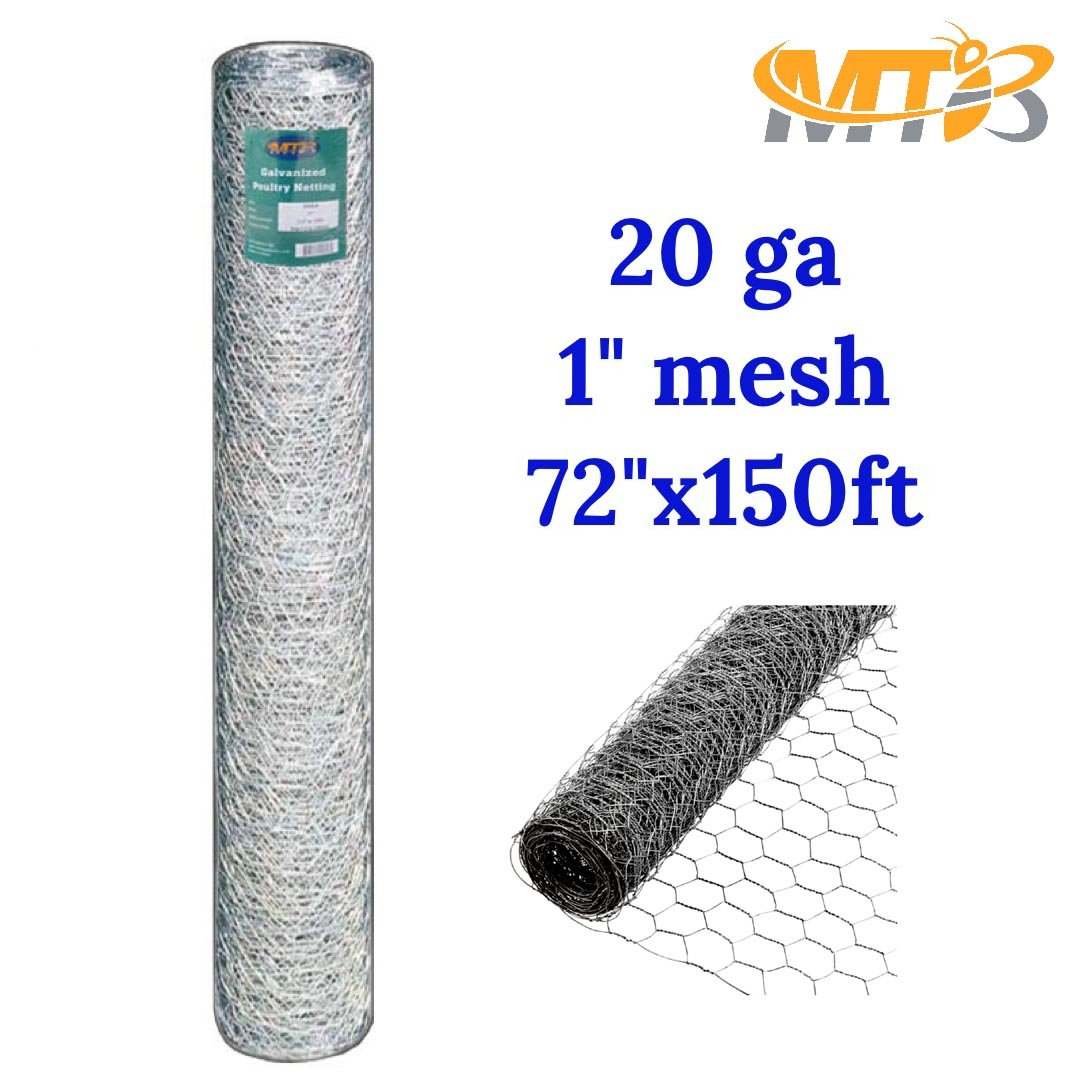 Galvanized Hexagonal Poultry Netting, Chicken Wire 72''x150'- 1'' 20GA (also sold in 25' / 50' length) by MTB Supply