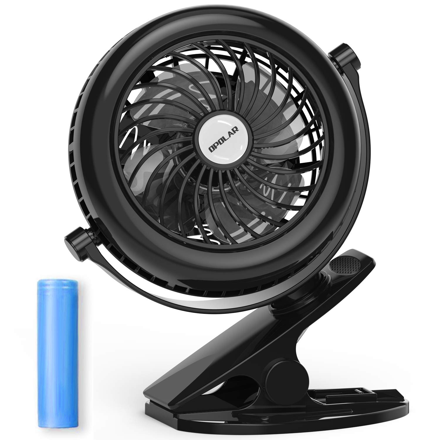 OPOLAR Battery Operated Clip on Fan, Strong Clamp, 4 Speeds, 360 Degree Rotation Fan for Baby Stroller, Golf Cart, Hurricanes, Treadmill, Outdoors