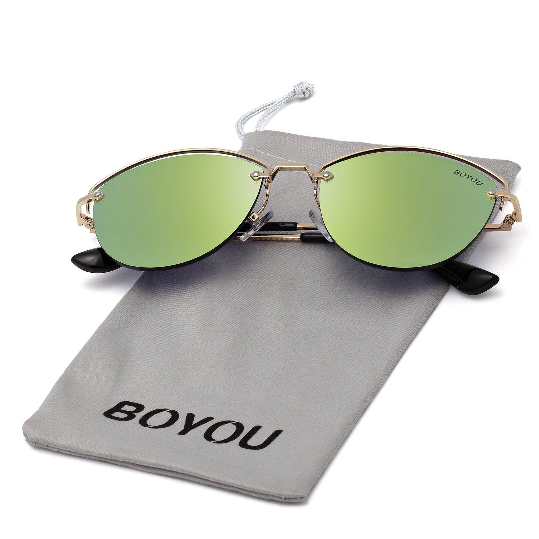 BOYOU Gafas de sol retro estilo aviador retro estilo completo con protección UV400