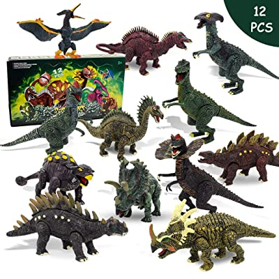 NVioToys Dinosaur Toys for Boys and Girls with Dinosaur Book, 12pcs Realistic Dinosaur Toy Set with Movable Jaws: Toys & Games