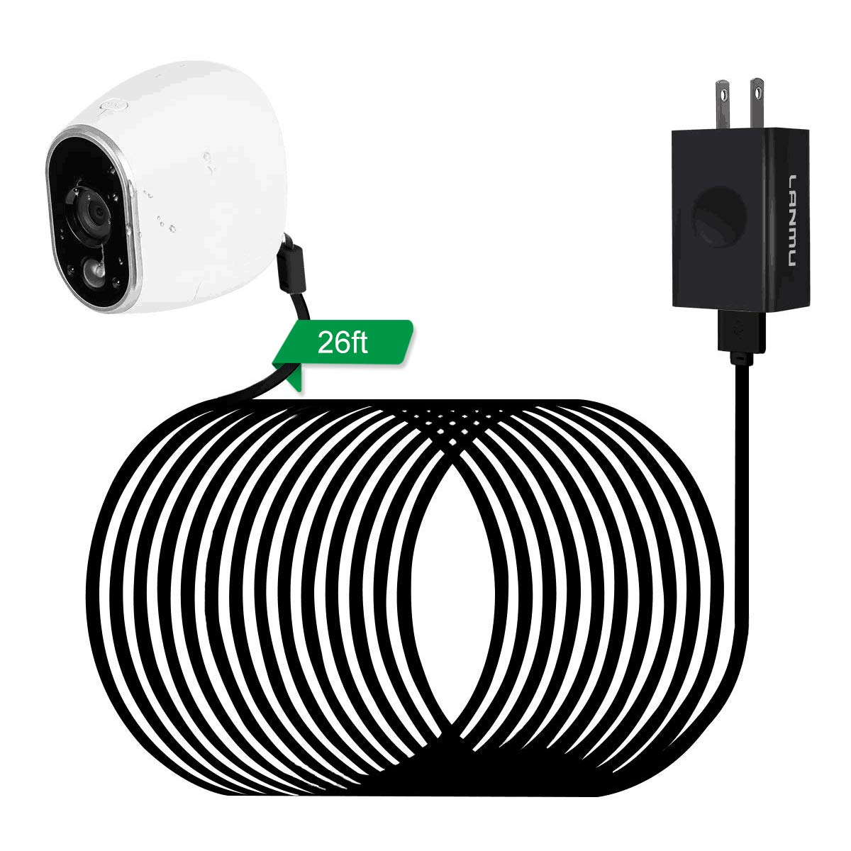 LANMU Weatherproof Outdoor Power Adapter for Arlo HD Security Camera  (Replace Lithium Batteries CR123A) (26ft/8m)