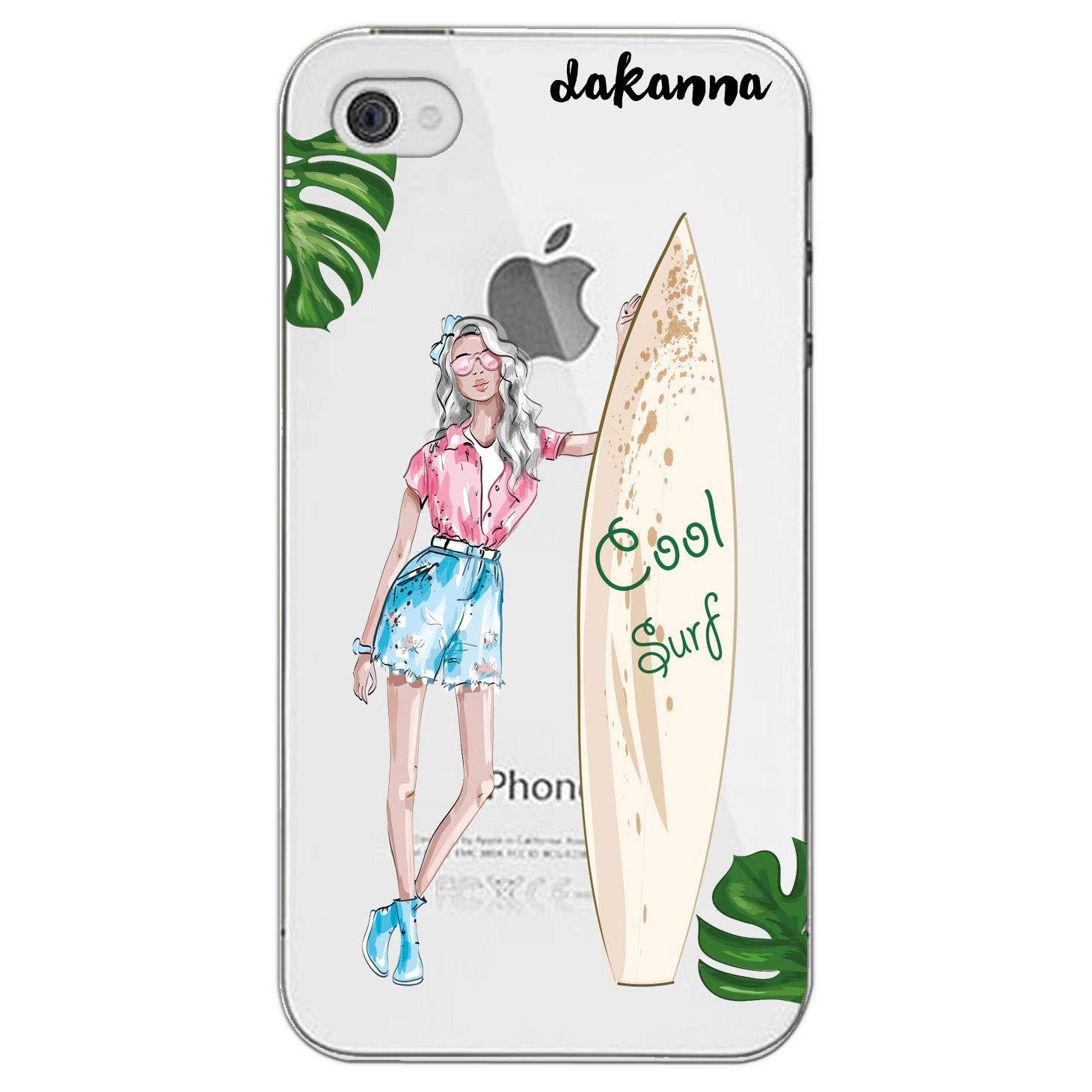 dakanna Funda iPhone 4-4S | Chica y Tabla de Surf | Carcasa de Gel Silicona Flexible | Fondo Transparente: Amazon.es: Electrónica
