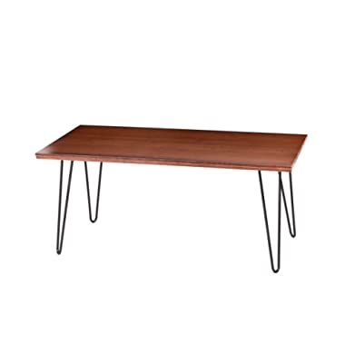 UNINCOO Hairpin Wood and Metal Coffee Table, Cocktail Table with Hairpin Legs for Living Room, Solid Wooden Table Top with Metal Legs (Coffee Table)
