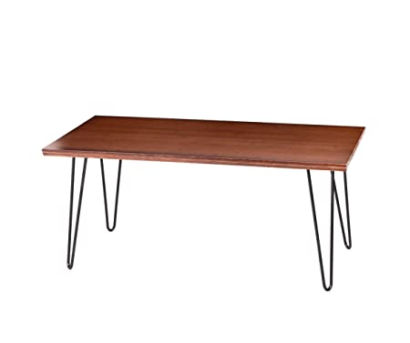 UNINCOO Hairpin Wood and Metal Coffee Table, Cocktail Table with Hairpin Legs for Living Room, Solid Wooden Table Top with Metal Legs Coffee Table