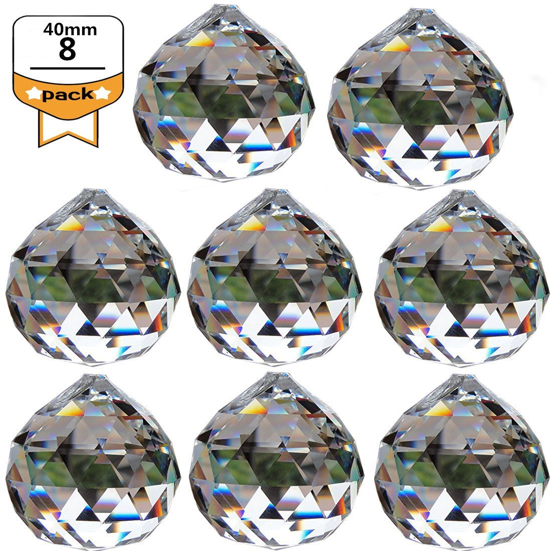 Yoker 40mm Clear Crystal Ball Prisms Pendant Feng Shui Suncatcher Decorating Hanging Faceted Prism Balls (Pack of 8)