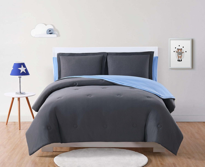 ローラHart KidsソリッドジャージーピンクにグレーリバーシブルTwin Bed in a Bag フル ブラック BIB2399CBFU-00 B07B6D68CL チャコールグレー フル