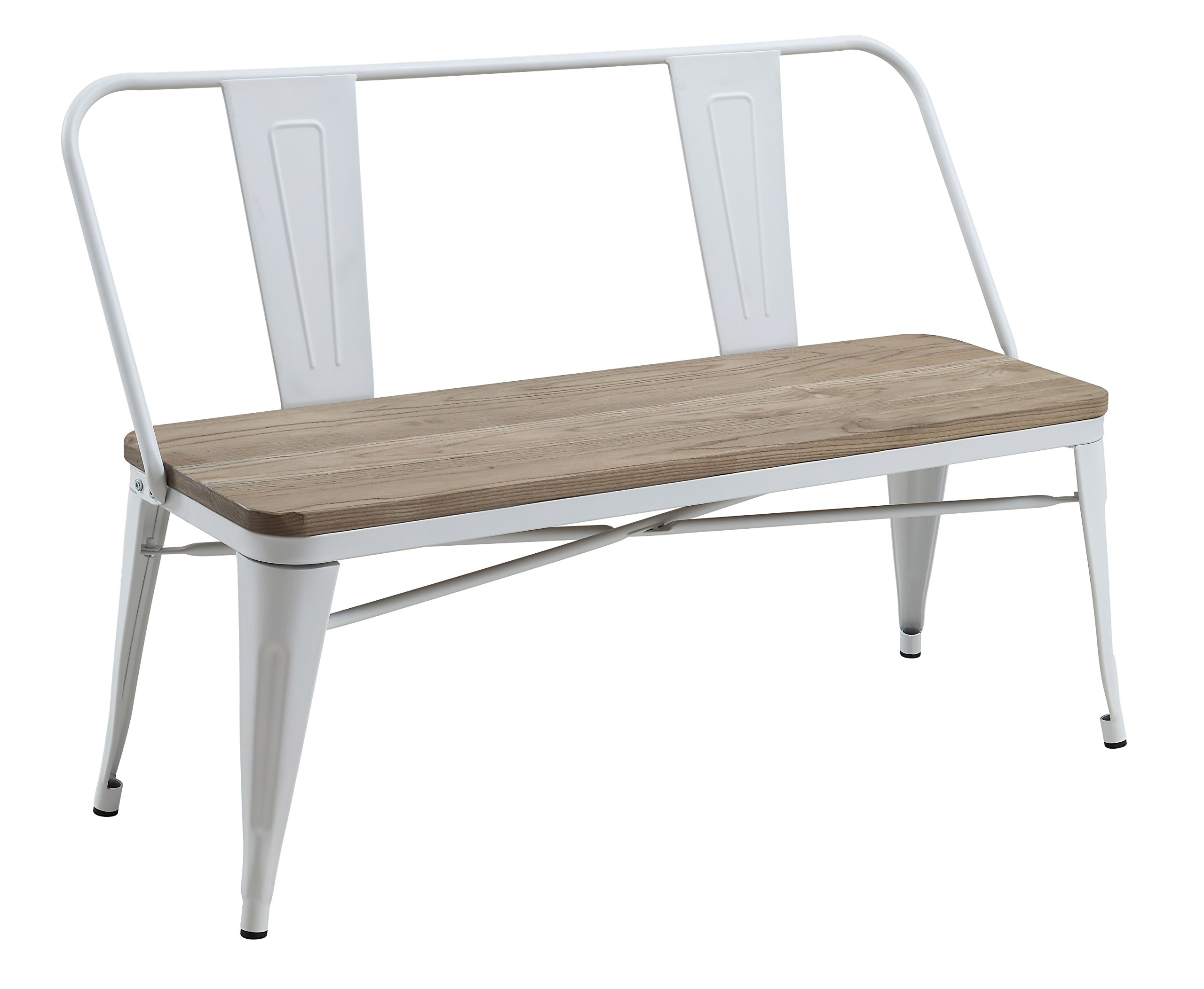 HOMES: Inside + Out IDF-3529WH-BN White Trevin Industrial Bench, by HOMES: Inside + Out