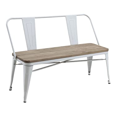 HOMES: Inside + Out IDF-3529WH-BN White Trevin Industrial Bench