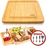 Cheese Board Set - Stainless Steel Cheese Knife Two Serving Trays as Part of The charcuterie Board Set Perfect as House Warming Presents, Wedding, Birthday Gifts