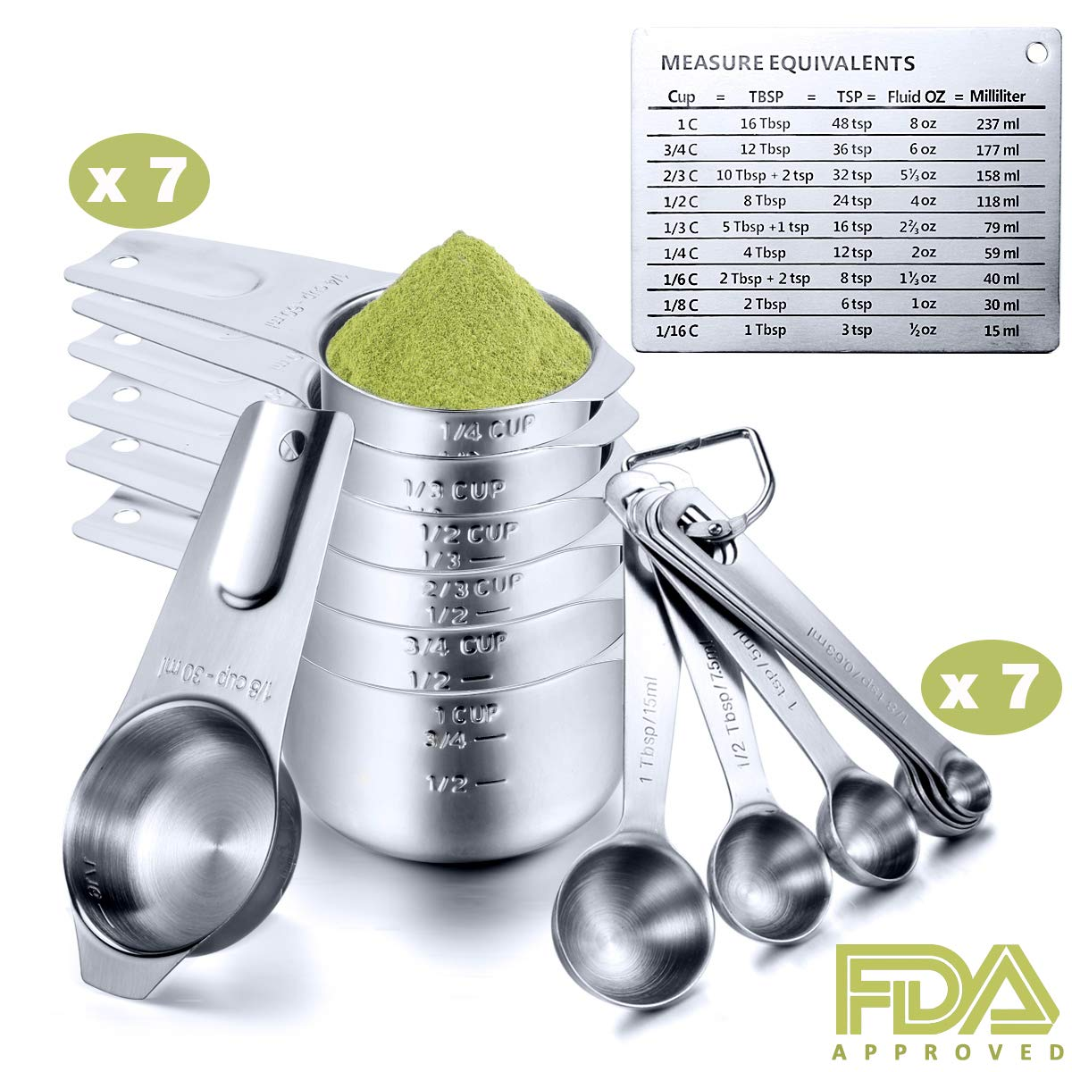 Engraved Measuring Cups Spoons Set, Umite Chef Round Teaspoons Made of 304 Stainless Steel, 7 Cups,7 Spoons, 1 Magnetic Measurement Conversion Chart, Volume 1/8 Tsp/0.63 ML to 1 Tbsp/15 ML