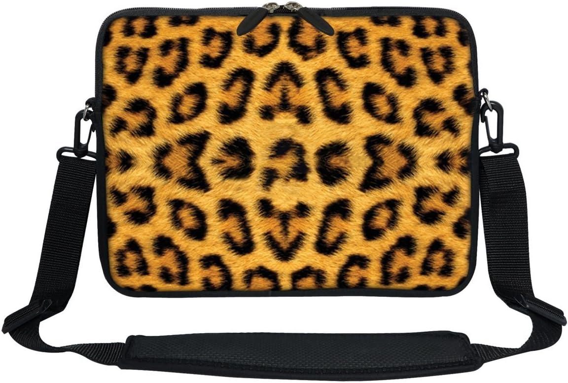 Meffort Inc 11.6 Inch Neoprene Laptop Sleeve Bag Carrying Case with Hidden Handle and Adjustable Shoulder Strap (Leopard Print)