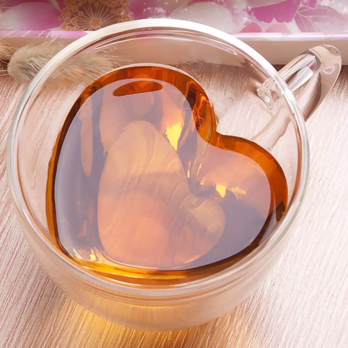 Rircio Creative Double Layer Heart Shaped Cup - Coffee Mugs - Heart Tea Cups, Clear Borosilicate Glass Mug for Latte, Tea, Ice Coffee, juice - Double Wall Insulated Heart Mugs With Handle (8oz/240ML)