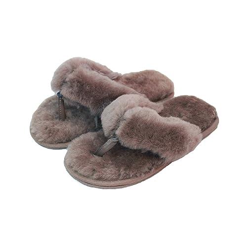 e1b86edd3 Eastern Counties Leather Womens Ladies Sheepskin Flip Flops (3 UK) (Mink)